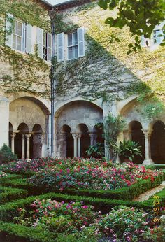 The courtyard garden of the St. Paul asylum of Saint-Rémy where Van Gogh was a self-admitted patient from 1889-1890 - the asylum and it's grounds were the subject of a number of his paintings.