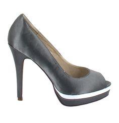 Zapato Peep Toe en Gris oscuro con plataforma. Para un look sofisticado. Ref.5458 //Peep toe platform heel in dark Grey. For a more sophisticated look. Ref.5458