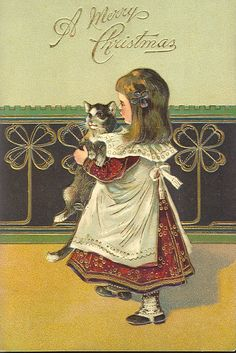 "vintage cat Christmas card ""A Merry Christmas"""