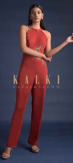 Buy Online from the link below. We ship worldwide (Free Shipping over US$100)  Click Anywhere to Tag Blood-Red-Jumpsuit-With-Halter-Neckline-And-Cut-Out-In-The-Waist-Online-Kalki-Fashion Red Jumpsuit, Indian Outfits, Blood, Neckline, Free Shipping, Simple, Link, Stuff To Buy, Dresses