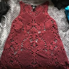 Lace maroon tank top Great paired with a Cami and some cut offs. Great condition Forever 21 Tops Tank Tops