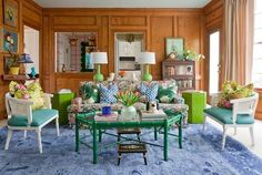eclectic Palm Beach Regency/ Chinoiserie colorful living room
