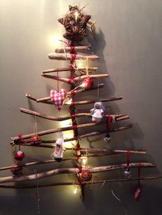 Rustic stick Christmas tree!! My new creation!