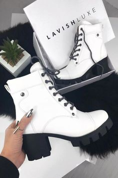 NORTH lace-up ankle boots with white plateau – Stitch Fix Style – … - Winter Boots Platform Ankle Boots, Lace Up Ankle Boots, High Heel Boots, Heeled Boots, White Lace Up Boots, High Heels, Boots With Heels, Black Boots, Stiletto Boots