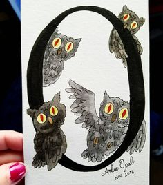 O is for owls! Yes I'm still working on these! My hands are shaking this morning so I'm just taking pics of stuff I've done lately. TOO MUCH CAFFEINE! Commissions are still a go!  #toomuchcoffee #jittery #art #artwork #artsy #artist #watercolor #watercolour #watercolors #watercolorpainting #paint #painting #artstagram #cutestagram #typography #lettering #calligraphy #sennelier #aquarelle #illustration #design #owls #halloween