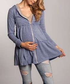 This Denim Blue Tiered Maternity Zip-Up Hoodie is perfect! #zulilyfinds....I seriously love This outfit