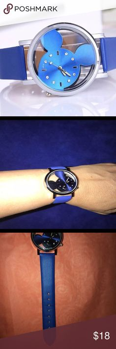 """Mickey Mouse Quartz Analog Watch & Rhinestones NWT Blue Mickey Mouse Quartz Watch w/ Rhinestones, 1 1/2"""" glass face and 9 1/2"""" blue leather band ~ NWT ~ comes packaged in gift/jewelry box ~ smoke free home ~ fast shipping Mickey Mouse Accessories Watches"""