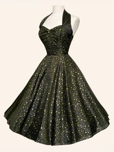 1950s Halterneck Luxury Black Satin Gold Stars Silver Dots Dress - from Vivien of Holloway UK