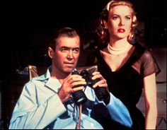 Still of Grace Kelly and James Stewart in Rear Window. I love Hitchcock movies.