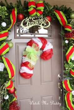Watch Me Daddy: Mesh Candy Cane Wreath