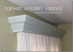 Painted wooden valance using crown molding from