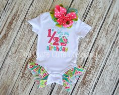 Adorable Custom Half Birthday Outfit with ruffles- Great for that 6 months or 1/2 birthday photoshoot!