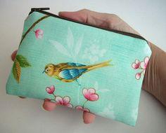 Bird Zipper Pouch  Little Coin Purse Gadget Case  by JPATPURSES, $9.00