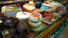 Ricotta Cheese, Pecorino , Prosciutto, salami ,Italian sausages in a #food Shop in #Tuscany