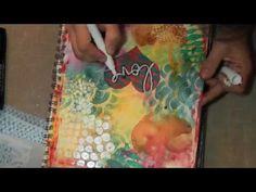"""Love"" Friday Mixed Media Art Journal Background Tutorial using several screens (stencils) with inks and embossing"