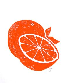 LINOCUT PRINT - Sliced orange citrus print - citrus fruit 8x10 poster