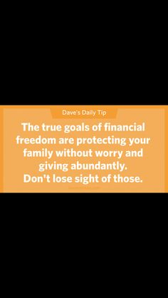 The true goals of financial freedom are protecting your family without worry and giving abundantly. Dont lose sign of those. Financial Peace, Financial Success, Dave Ramsey Quotes, Budgeting Finances, Money Saving Tips, Saving Ideas, Money Tips, Money Management, Personal Finance