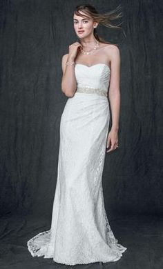 David's Bridal Sweetheart Strapless Lace Gown WG3623, find it on PreOwnedWeddingDresses.com