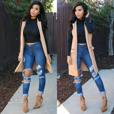"""@itsmsmonica on Instagram: """"Unexpected #datenight s are the best  #ootn Crop top @wantmylook use code ✔msmonica✔ to save Vest @bellarichthreadz Jeans @fashionnova use code ✔xomsmonicas✔ for $ off Shoes @teamwardrobe"""""""