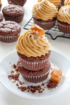 Dark Chocolate Brownie Cupcakes with Salted Caramel Frosting