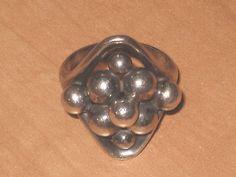 Early EG ERIK GRANIT Finland Hallmarked Sterling Silver Bead Ring  SZ 6 ½