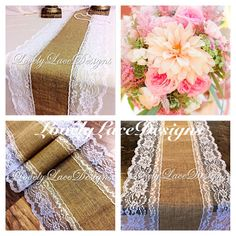 Burlap Lace Table Runner White Lace 3ft-10ft by LovelyLaceDesigns