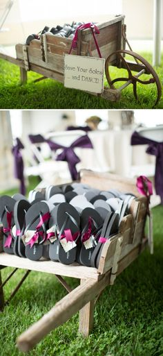DIY Wedding // 'save your soles and dance!' darling flip-flop favors at a wedding reception