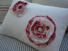 White Denim PaRiS Cottage Shabby Chic Red by Sassycatcreations, $45.00