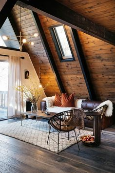 This rustic bohemian a-frame cabin in Big Bear, California is a slice of mid-century bohemian heaven. decor A Rustic Bohemian A-Frame Cabin in Big Bear A Frame Cabin, Wood Frame House, A Frame House Plans, Cabins In The Woods, Cottage In The Woods, House In The Woods, Cabin Homes, Home Interior Design, Modern Cabin Interior