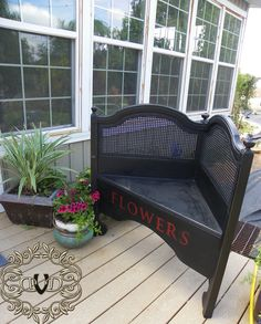 Check out this clever headboard turned garden bench (Deja Vue Designs)