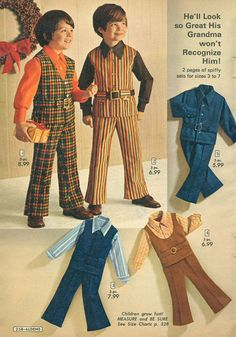 Clothing guaranteed to entice bullies to a major butt-stomping.  Kids should be grateful that they aren't dressed like this anymore.