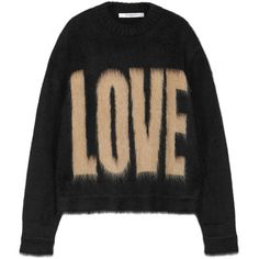 Womens Jumpers Givenchy Black Love-intarsia Mohair Blend Jumper ($1,175) ❤ liked on Polyvore featuring tops, sweaters, jumper top, givenchy, givenchy top, givenchy sweater and intarsia sweater