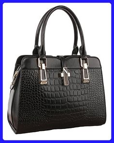 ILISHOP Hot Sale Women s Genuine Leather New Office Lady Casual Vintage  Crocodile Top Handle Tote Shoulder Crossbody Bag Satchel Purse Handbag ( Black) 33420450e0