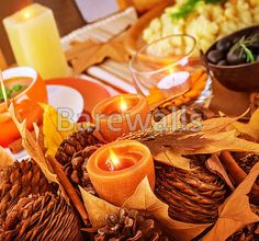 """Thanksgiving day table decor"" - Thanksgiving art prints available at Barewalls.com"