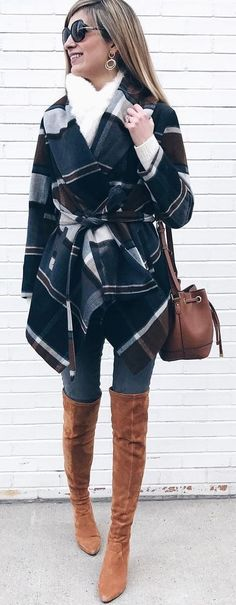 #winter #fashion /  Printed Top / White Scarf / Brown OTK Boots / Skinny Denim