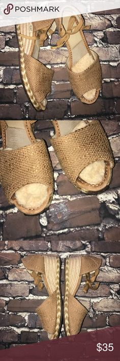 UGG Australia~MAR~Tan Burlap Espadrille Sandals 9 Good gently loved condition.. UGG style:1652, Color: Natural, Fabric: Textile, Leather & Genuine Sheepskin.     They tie around the ankle and have thick gum rubber soles. I also have a chocolate pair listed in the same size. I'll attempt to photograph them differently to give you the most style views.  Questions and bundle offers welcome! :) UGG Shoes Espadrilles