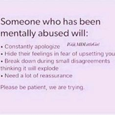 """Sometimes you don't even realize the abuse till you read a description of yourself and think """".this isn't normal?"""" Mental abuse and emotional abuse Stress, Narcissistic Abuse, Psychology Facts, Emotional Abuse, Mental Health Awareness, Mental Health Symptoms, Trauma, Self Help, Just In Case"""