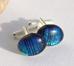Green and Blue Glass Cufflinks - Dichroic Fused Glass Mens Jewelry - Oval T Bar Cuff Links by TremoughGlass on Etsy