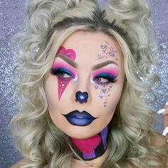 374 Likes, 3 Comments - Jazzy Glitter ( - Cute Clown Makeup, Halloween Makeup Clown, Halloween Eyes, Cosplay Makeup, Costume Makeup, Creative Makeup Looks, Crazy Makeup, Fantasy Makeup, Clowns