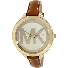 Michael Kors Women's Slim Runway Brown Watch - Gold tone stainless steel case with a tan leather strap. Fixed gold tone bezel. Champagne dial with large MK logo with gold tone hands. Water resistant to 50 meters. Michael Kors Jackets, Handbags Michael Kors, Jewelry Roll, Jewlery, Fashion Watches, Women's Watches, Analog Watches, Jewelry Watches, Michael Kors Watch