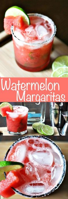 Fresh watermelon, lime, and tequila blend together perfectly in these delicious summery Watermelon Margaritas! So refreshing and easy to make!