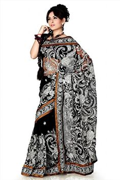 8fc3065e36f Amazon.com  Bollywood Women s Indian Ethnic Designer Black color Net Party  Wedding Sari With saree Blouse Unstitched  Clothing