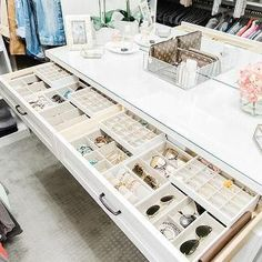 California Closets- A white custom closet dresser is fitted with jewelry drawers… - Home & DIY Walk In Closet Design, Bedroom Closet Design, Master Bedroom Closet, Closet Designs, Closet Rooms, Bedroom Sofa, Closet Space, Small Walk In Closet Ideas, Walk In Closet Inspiration