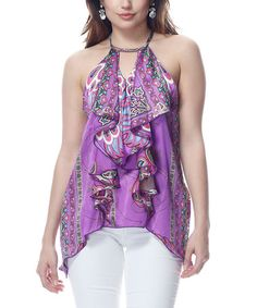Take a look at this Purple Ruffle Sidetail Top by Classique on #zulily today!