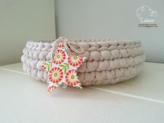 Crochet basket t-shirt yarn basket fabric round basket by Lulaor
