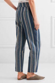 Chloé - Striped Cotton-blend Straight-leg Pants - Blue - FR38