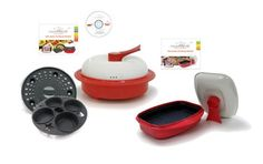 MICROHEARTH C11RC4-G03RS2 6-Piece Microwave Cookware Set with 4-Piece Everyday Combo Set and 2-Piece Grill Pan Set, Red *** You can get additional details at the image link.