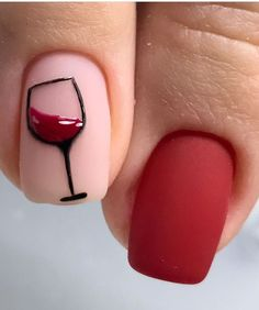 Wine glass nail design | red wine glass nails red nail art #nails #nailart #rednails