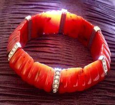 Vintage celluloid or early plastic ivory stretch bracelet #STRETCH ...
