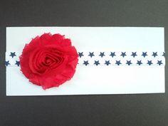 4th of July headband red blue white headband by GabeAndJuju